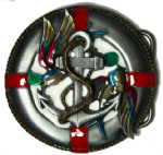 Lifebelt - Lifesaver, Anchor and birds Belt Buckle with display stand. Product code: SF8
